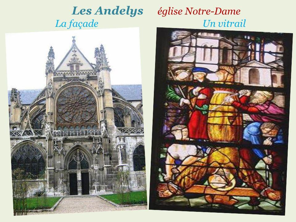 Les Andelys église Notre-Dame La façade Un vitrail