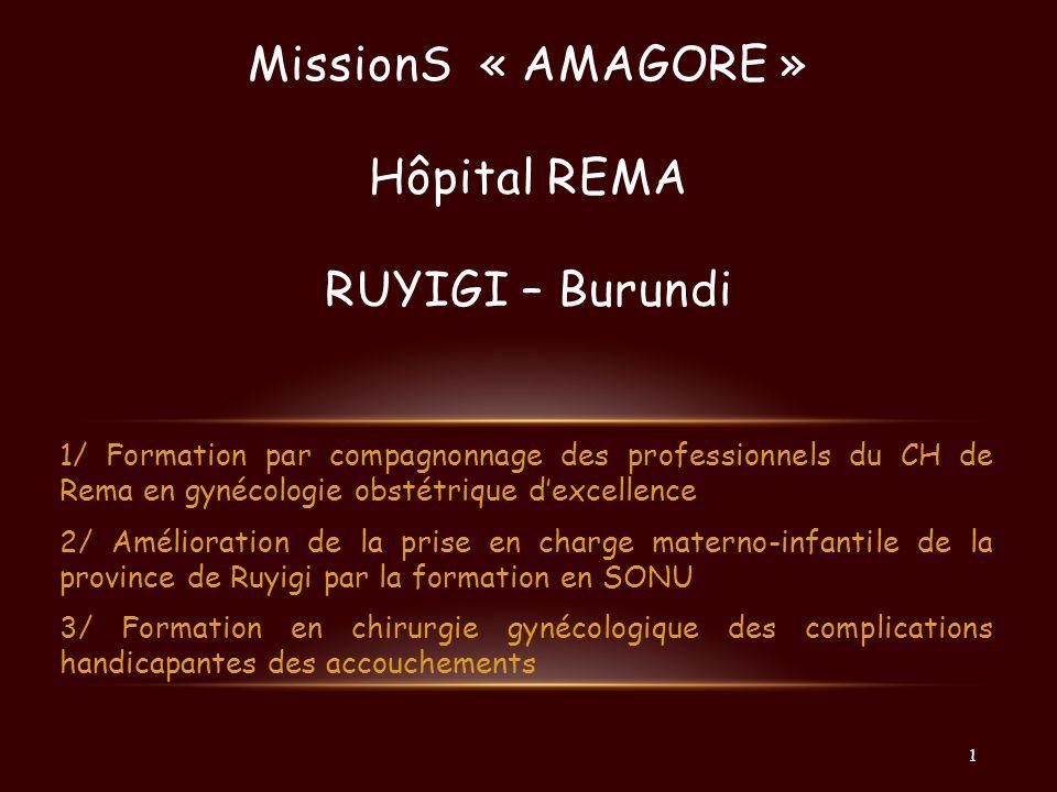 MissionS « AMAGORE » Hôpital REMA RUYIGI – Burundi