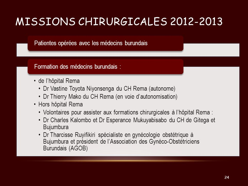 Missions chirurgicales 2012-2013