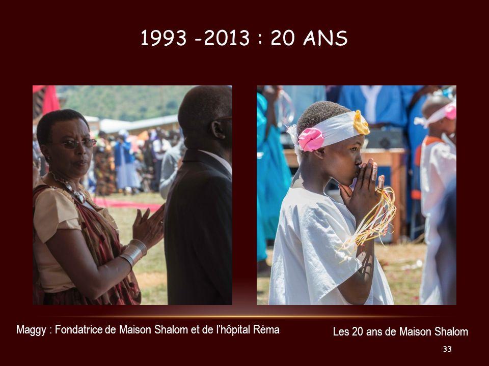 1993 -2013 : 20 ans Maggy : Fondatrice de Maison Shalom et de l'hôpital Réma.