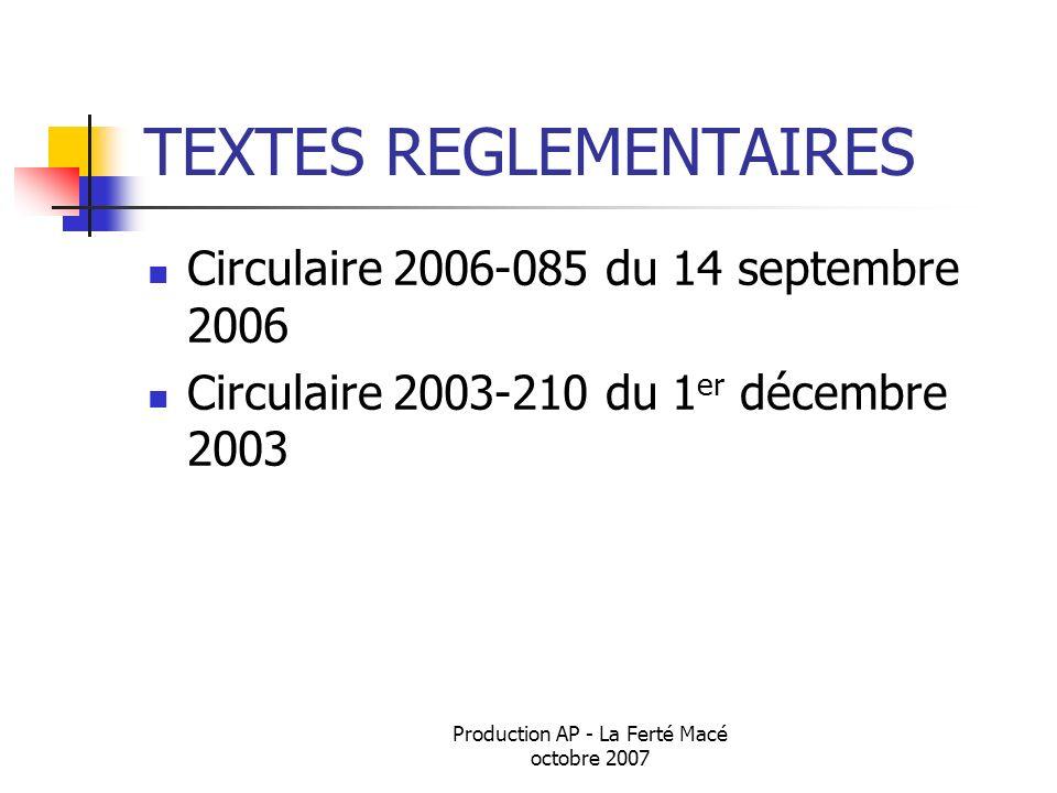TEXTES REGLEMENTAIRES