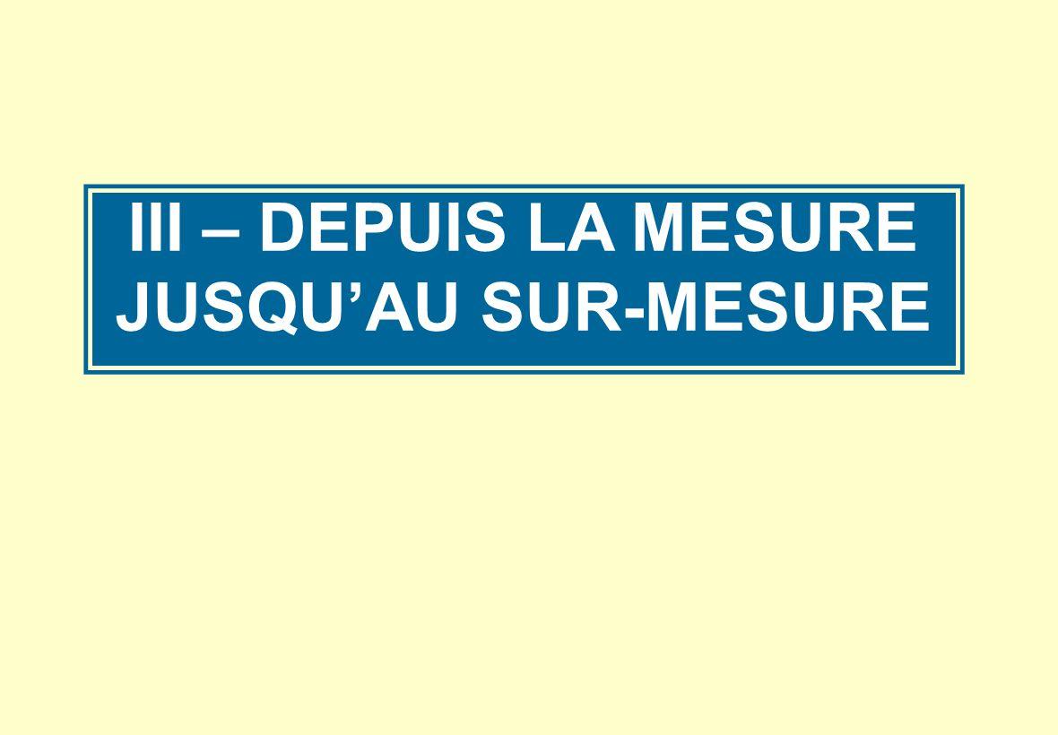 III – DEPUIS LA MESURE JUSQU'AU SUR-MESURE