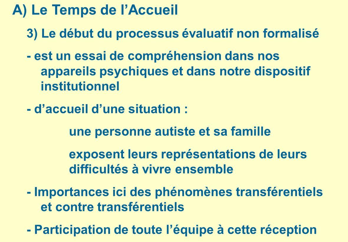 Le Temps de l'Accueil 3) Le début du processus évaluatif non formalisé