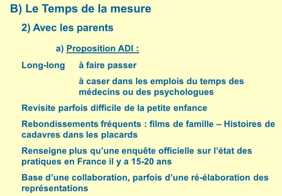 B) Le Temps de la mesure a) Proposition ADI : 2) Avec les parents