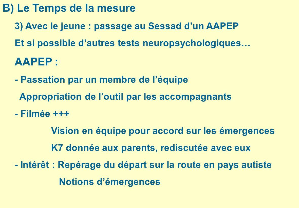 B) Le Temps de la mesure AAPEP :