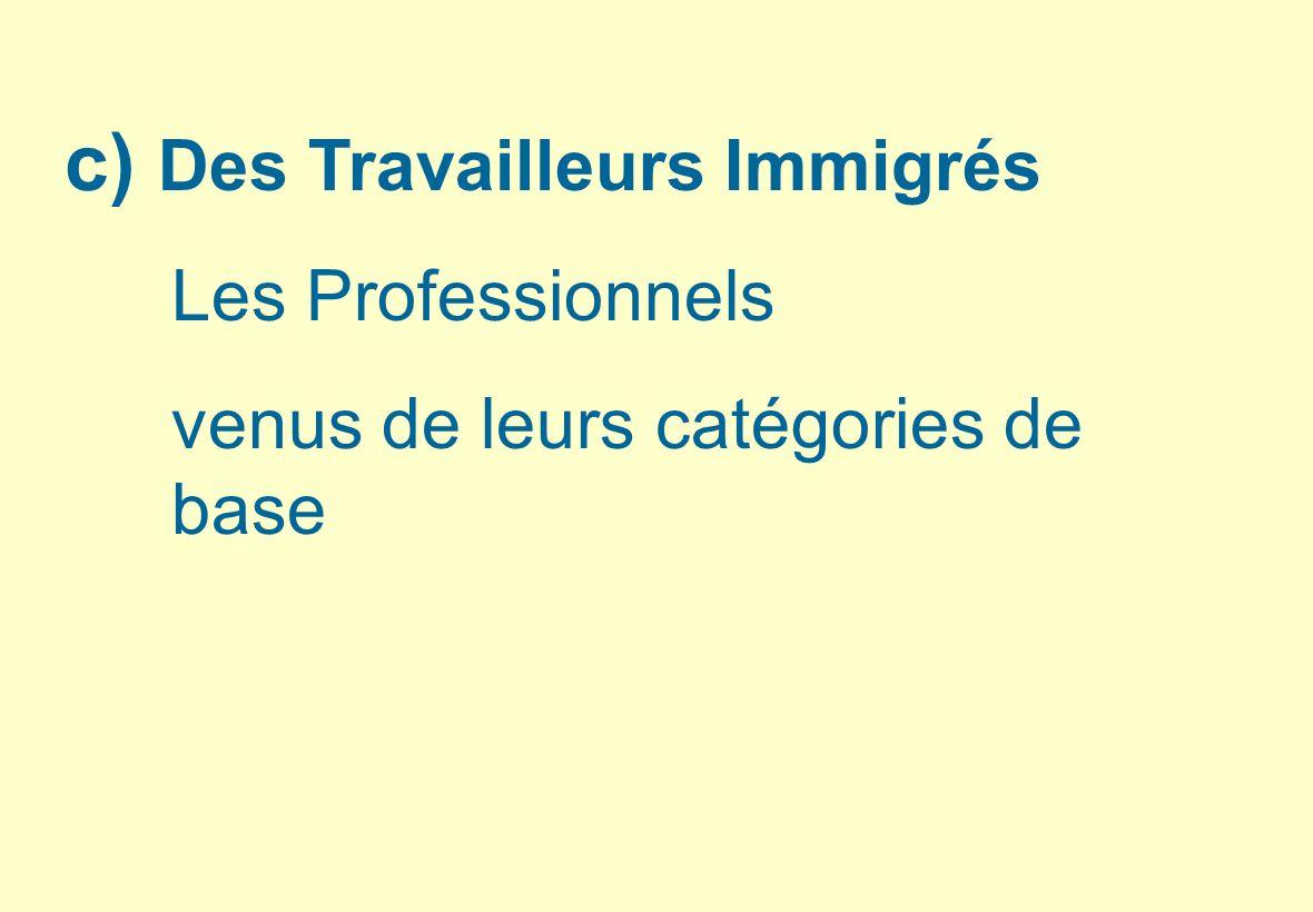 c) Des Travailleurs Immigrés