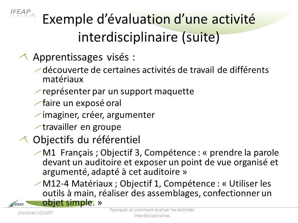 Exemple d'évaluation d'une activité interdisciplinaire (suite)