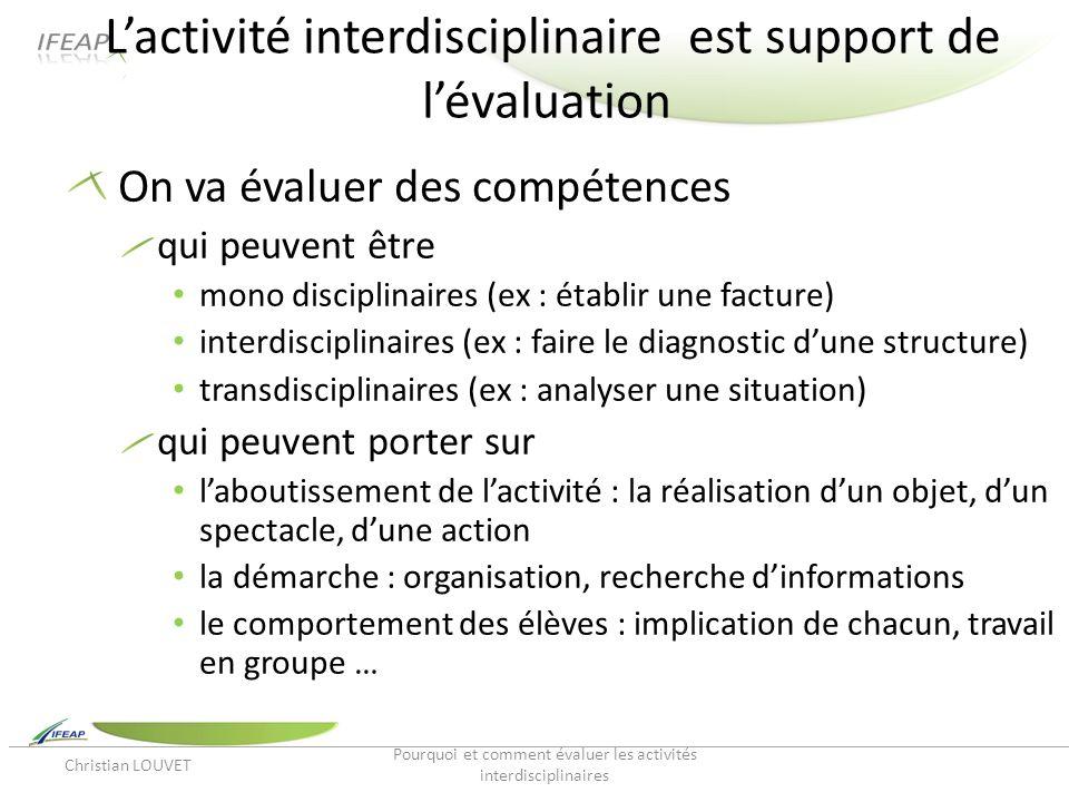 L'activité interdisciplinaire est support de l'évaluation