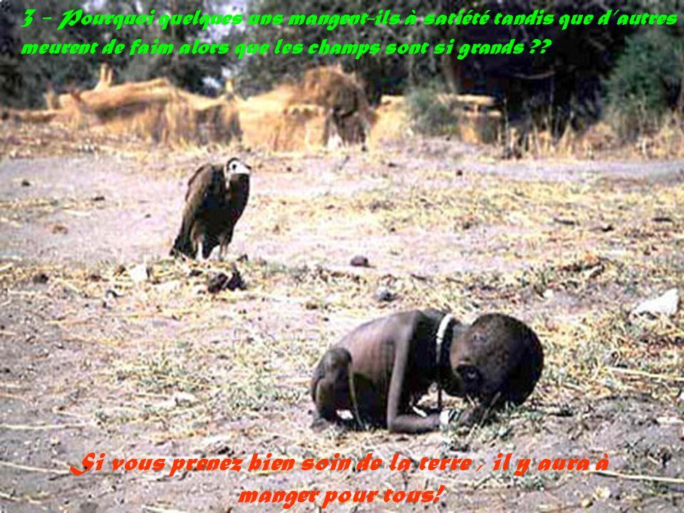 Si vous prenez bien soin de la terre , il y aura à manger pour tous!