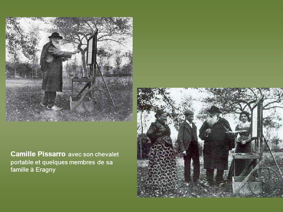 Camille Pissarro avec son chevalet portable et quelques membres de sa famille à Eragny