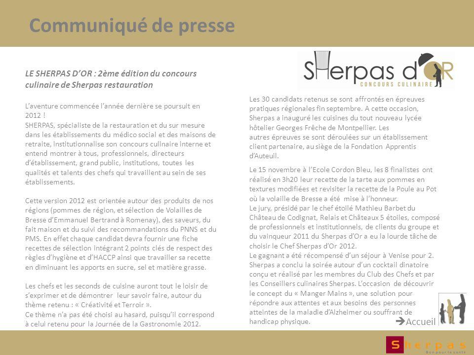 Communiqué de presse Accueil