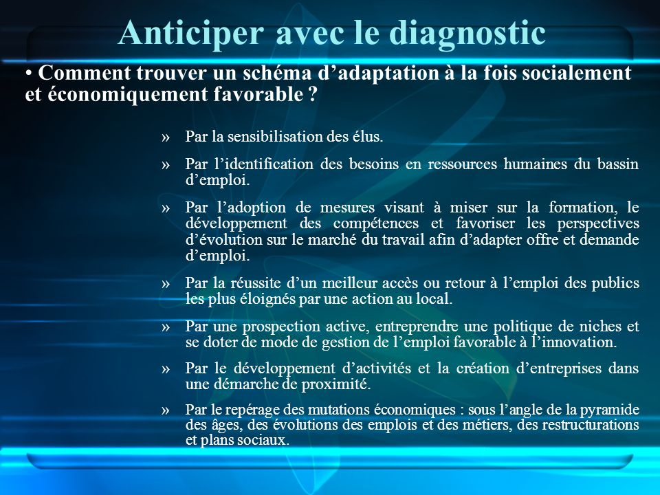 Anticiper avec le diagnostic