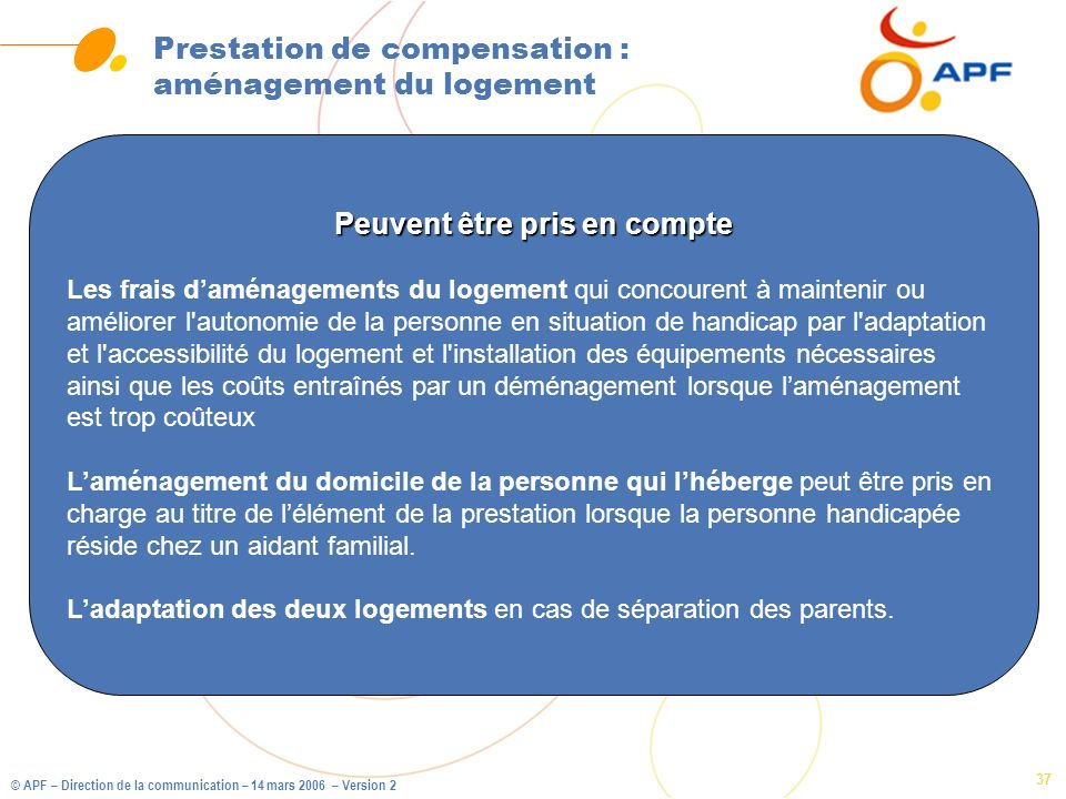 Prestation de compensation : aménagement du logement