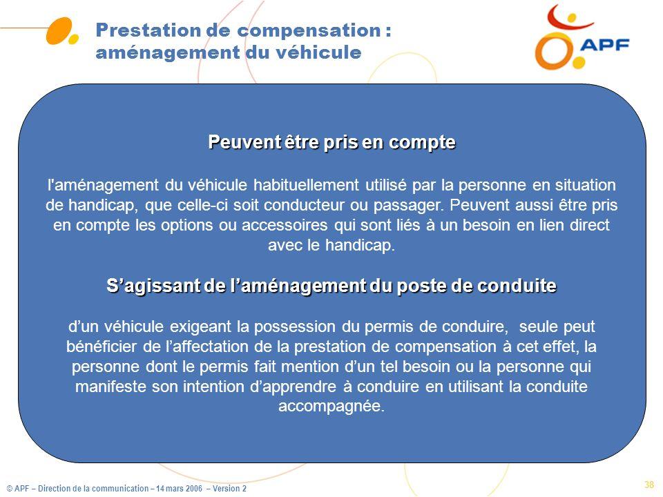 Prestation de compensation : aménagement du véhicule