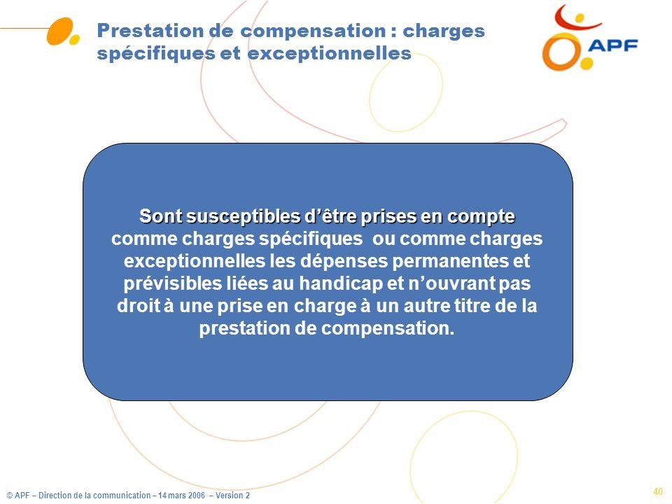 Prestation de compensation : charges spécifiques et exceptionnelles