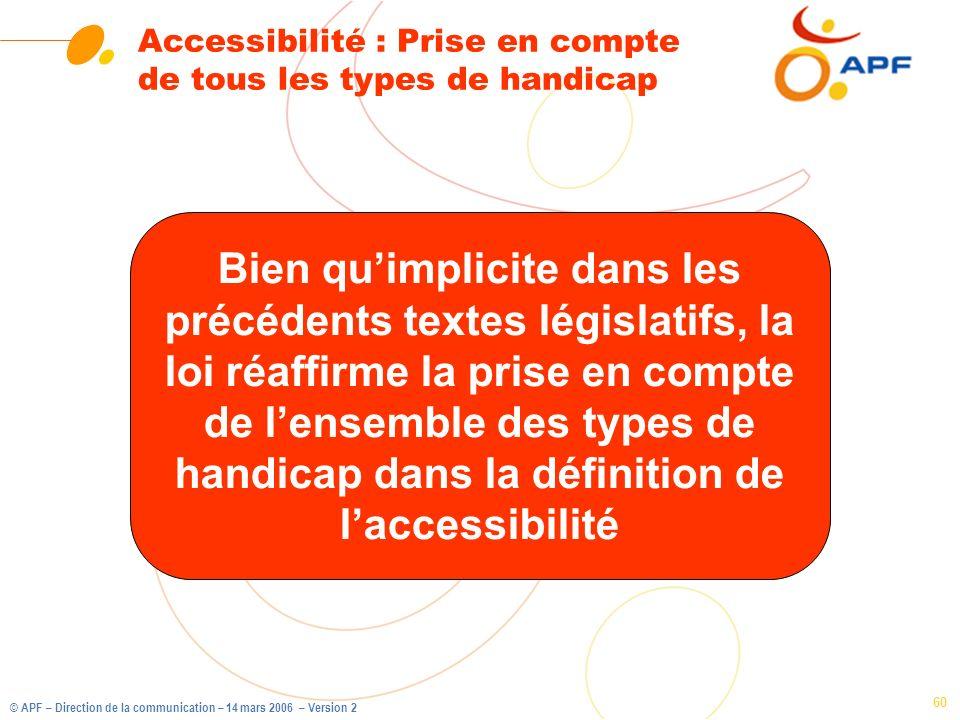 Accessibilité : Prise en compte de tous les types de handicap