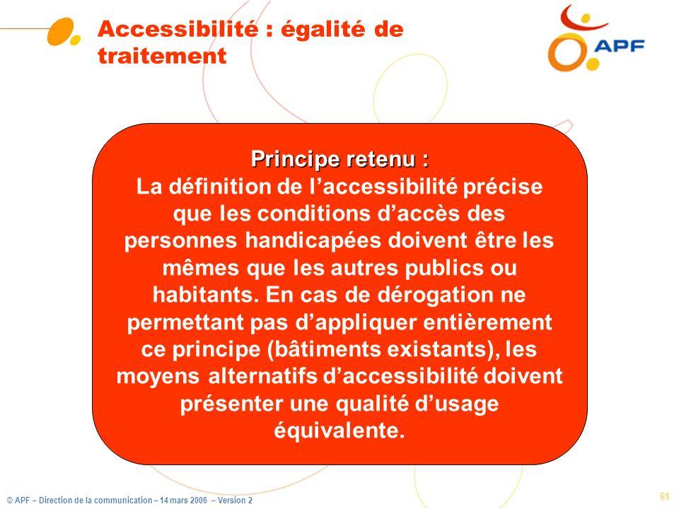 Accessibilité : égalité de traitement