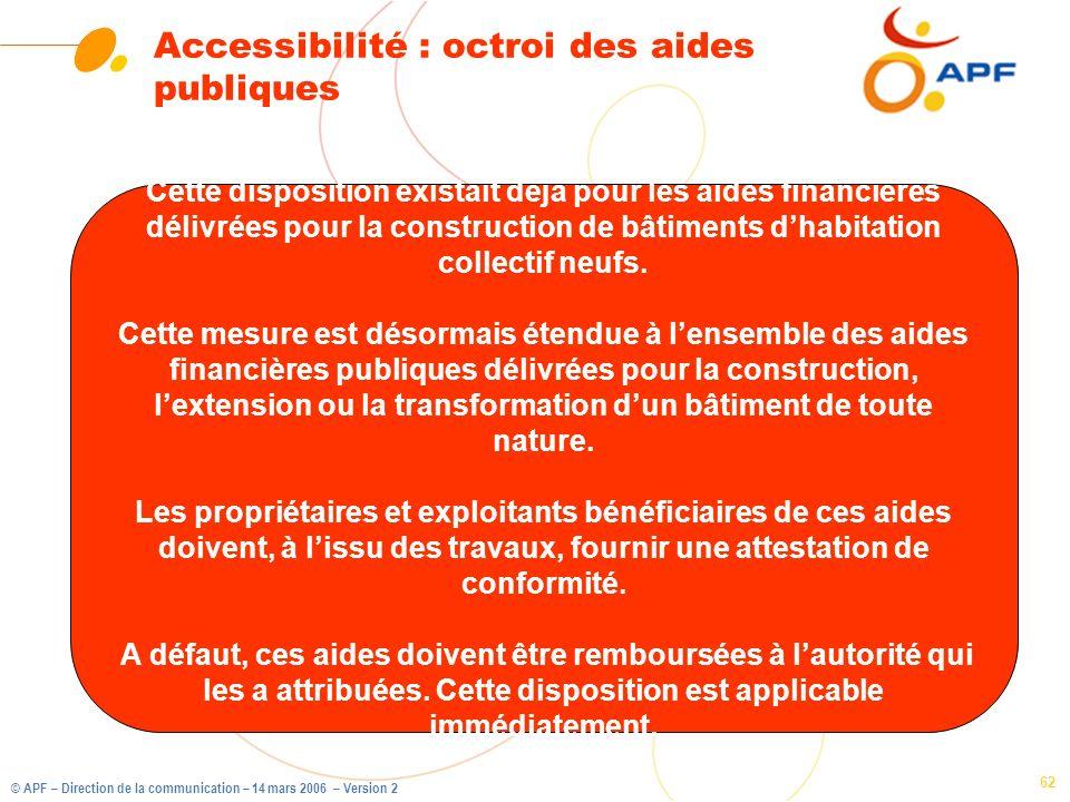Accessibilité : octroi des aides publiques