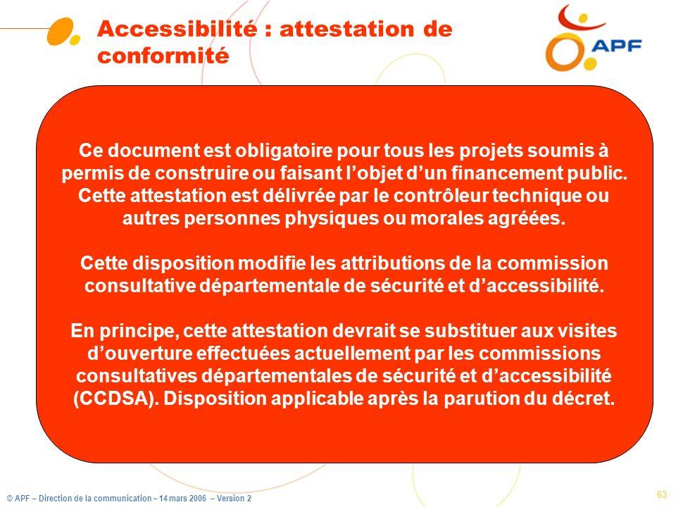 Accessibilité : attestation de conformité