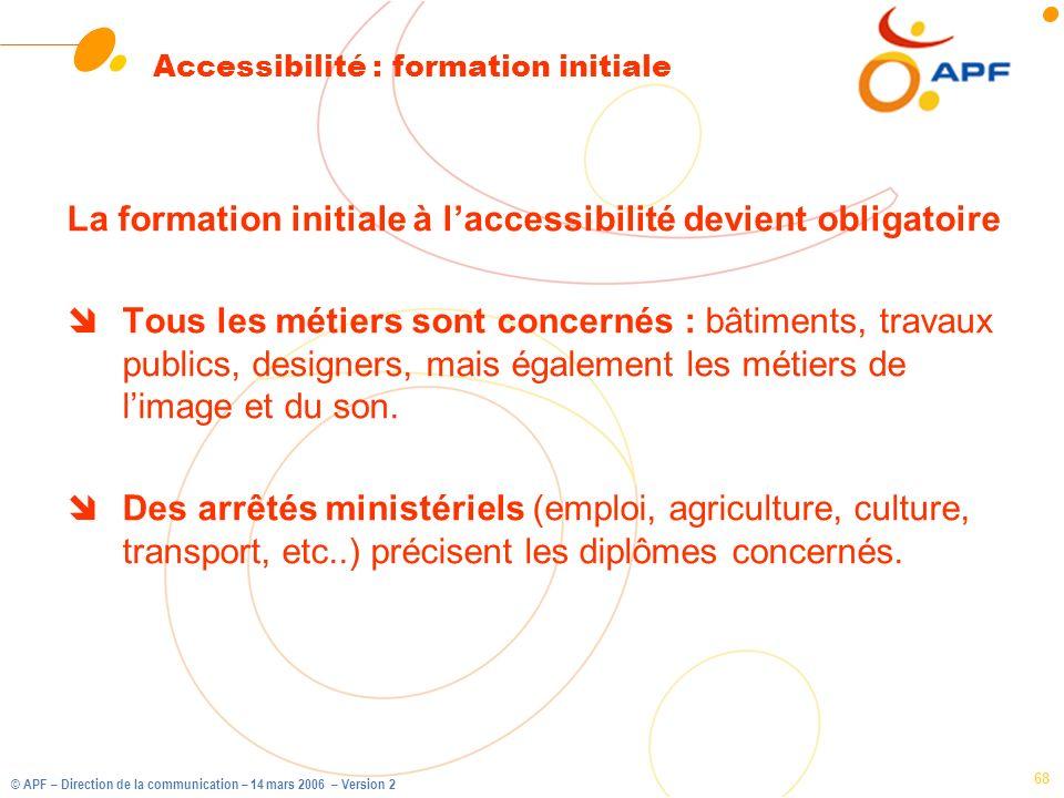 Accessibilité : formation initiale