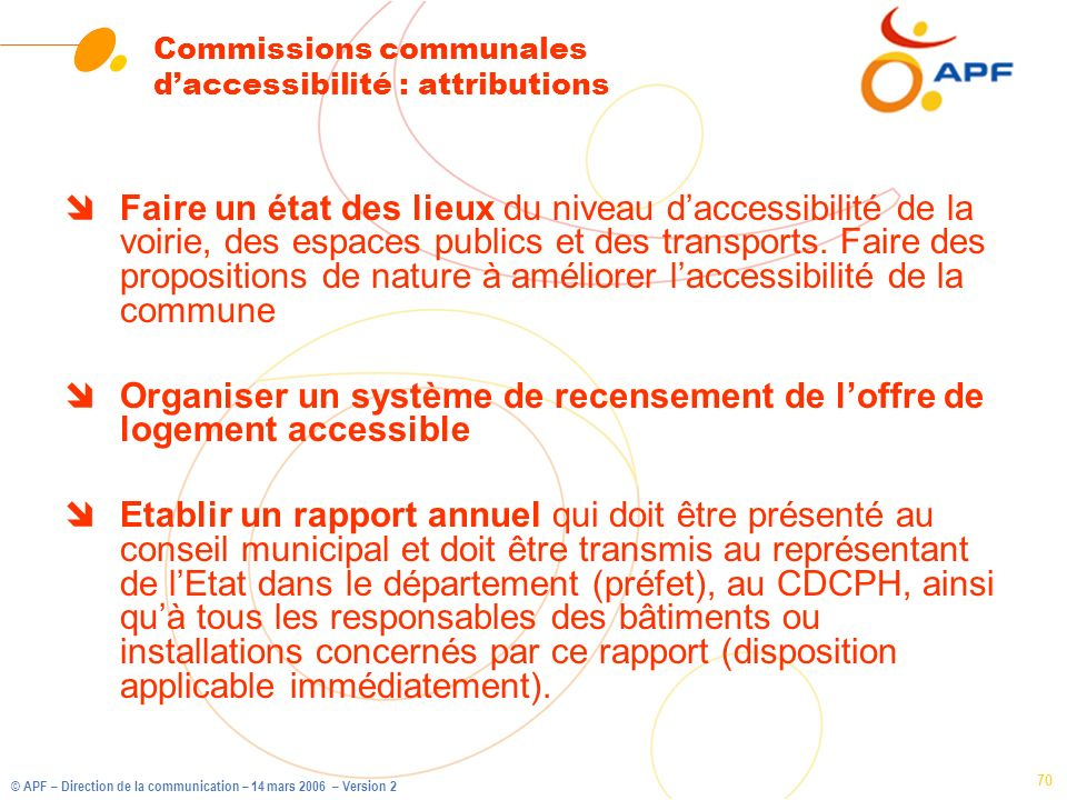 Commissions communales d'accessibilité : attributions