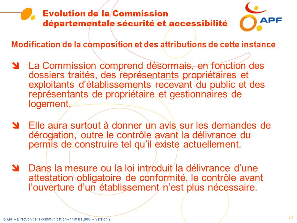 Evolution de la Commission départementale sécurité et accessibilité