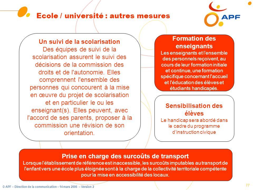 Ecole / université : autres mesures