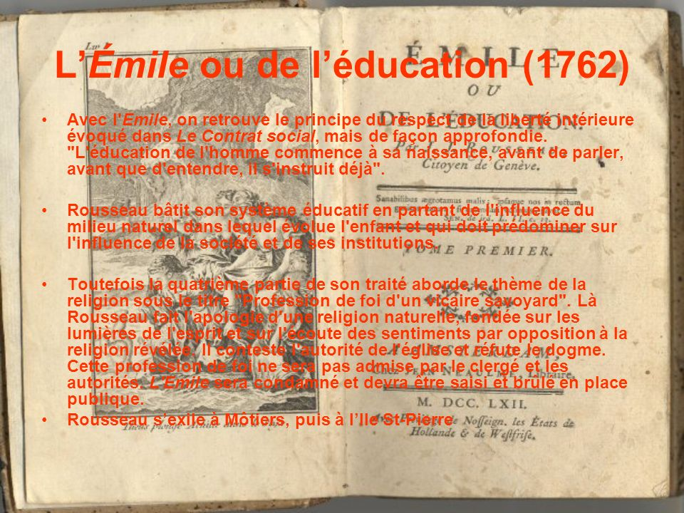 L'Émile ou de l'éducation (1762)