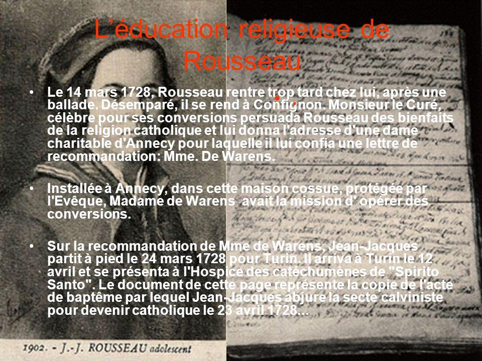 L'éducation religieuse de Rousseau