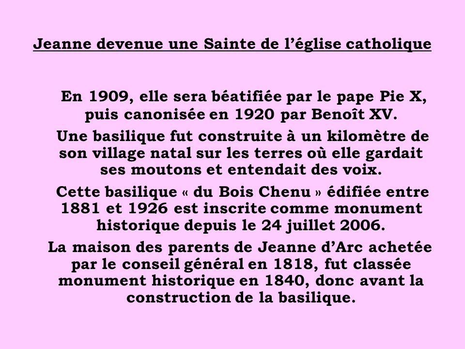 Jeanne devenue une Sainte de l'église catholique