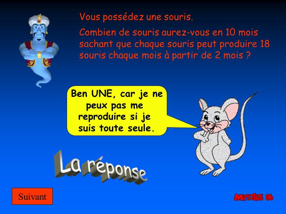 La réponse Vous possédez une souris.