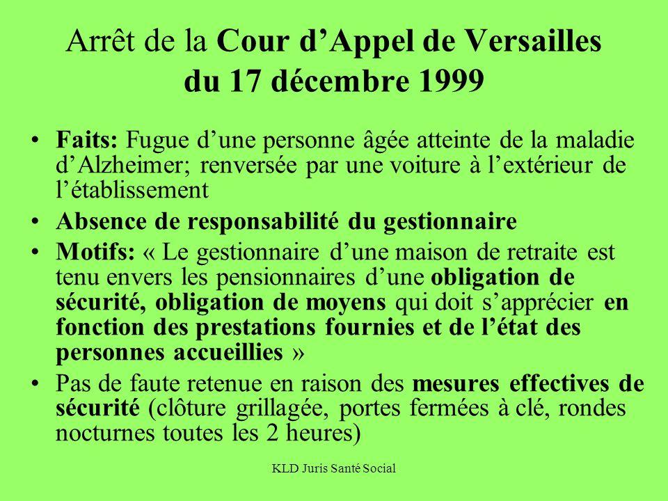 Arrêt de la Cour d'Appel de Versailles du 17 décembre 1999