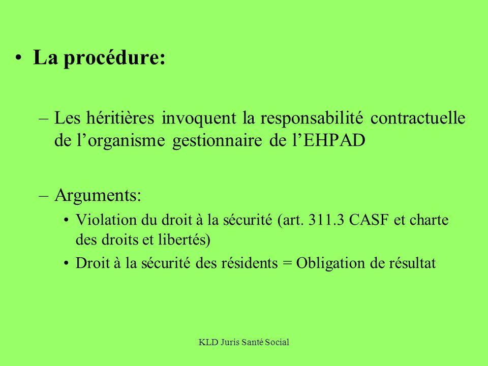 La procédure: Les héritières invoquent la responsabilité contractuelle de l'organisme gestionnaire de l'EHPAD.
