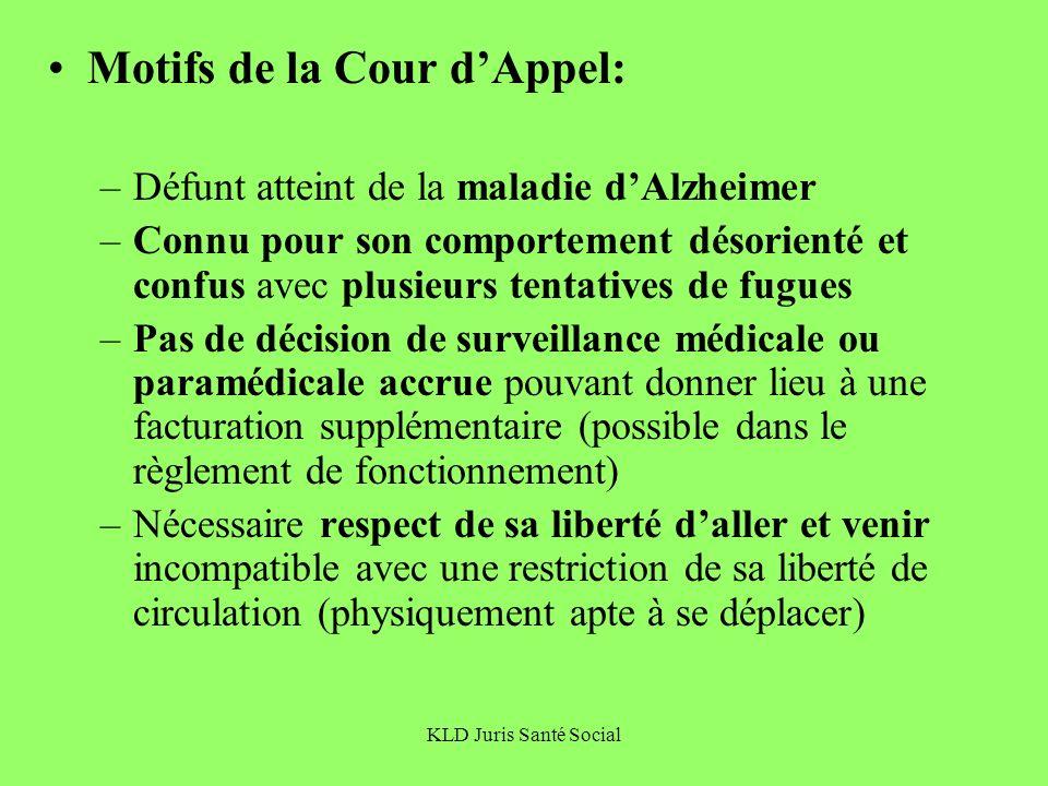 Motifs de la Cour d'Appel: