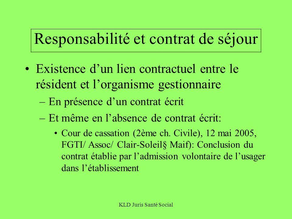 Responsabilité et contrat de séjour