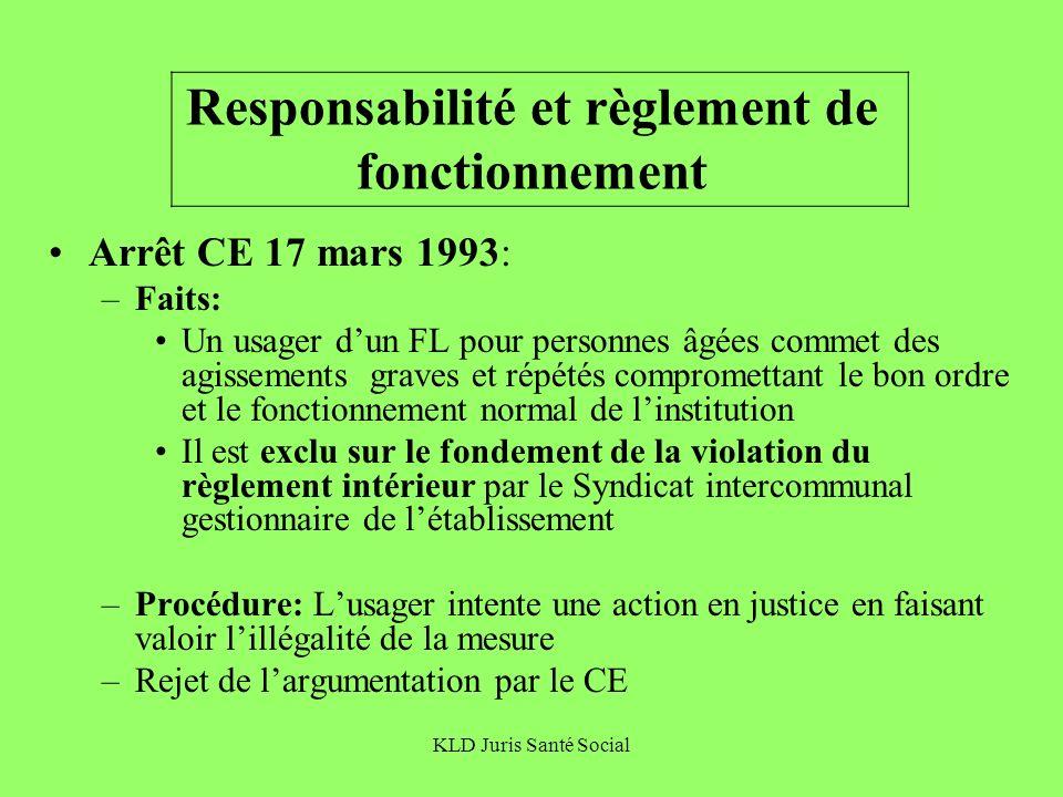 Responsabilité et règlement de fonctionnement
