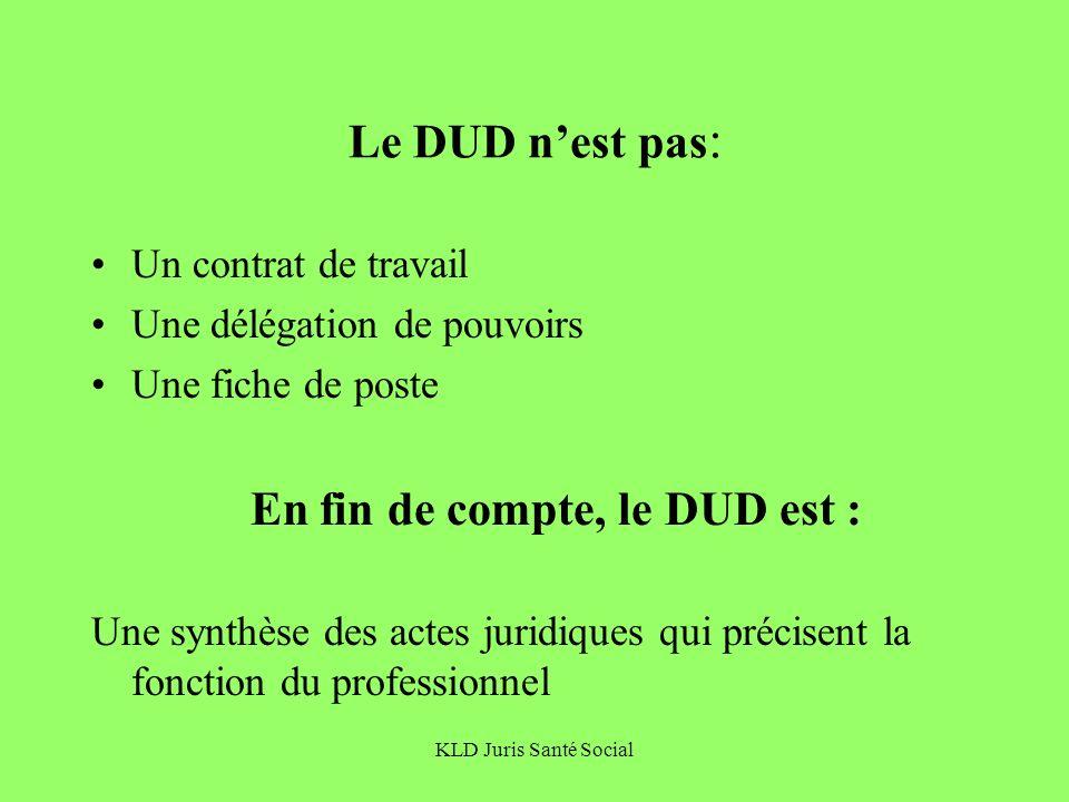 Le DUD n'est pas: Un contrat de travail Une délégation de pouvoirs