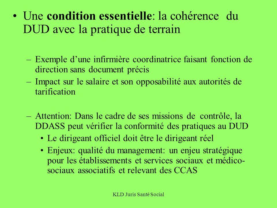 Une condition essentielle: la cohérence du DUD avec la pratique de terrain
