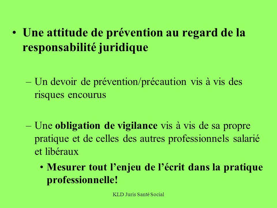 Une attitude de prévention au regard de la responsabilité juridique