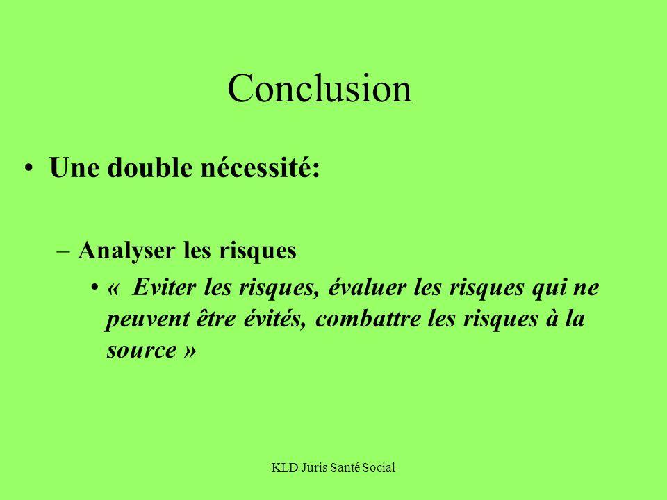 Conclusion Une double nécessité: Analyser les risques