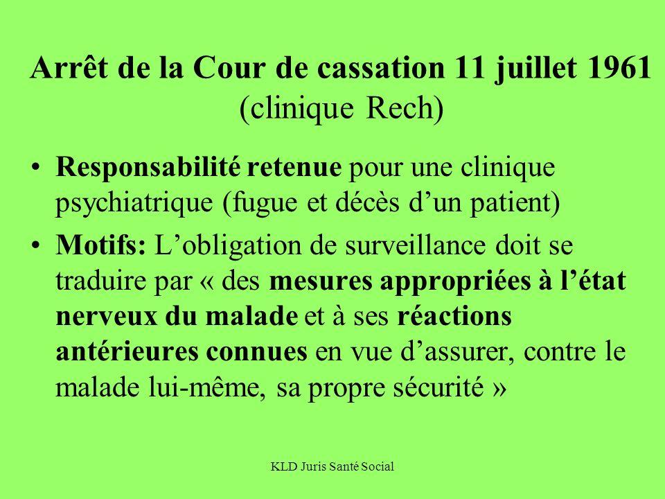 Arrêt de la Cour de cassation 11 juillet 1961 (clinique Rech)