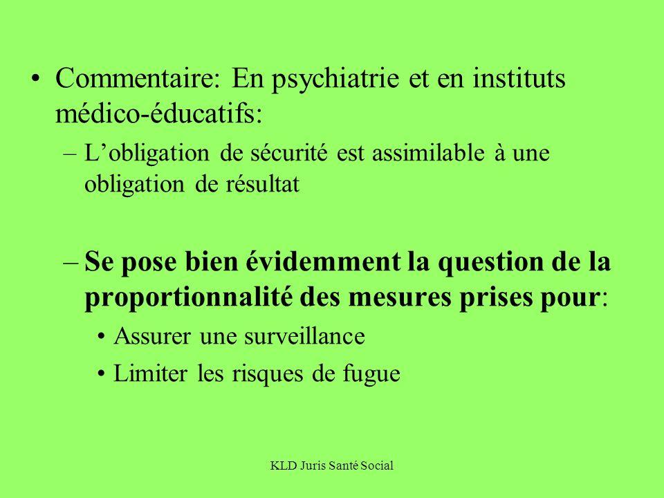 Commentaire: En psychiatrie et en instituts médico-éducatifs: