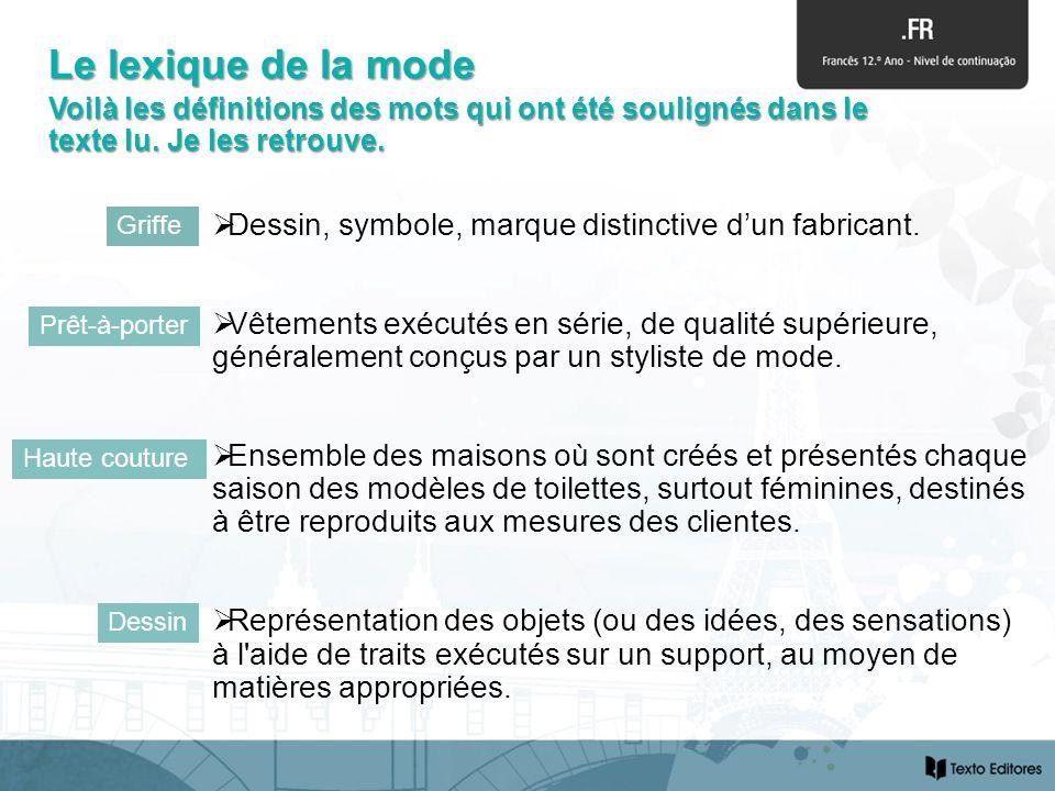 Le lexique de la mode Voilà les définitions des mots qui ont été soulignés dans le texte lu. Je les retrouve.