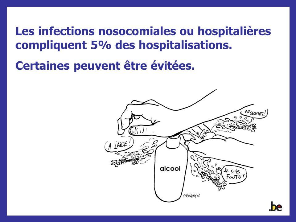Les infections nosocomiales ou hospitalières compliquent 5% des hospitalisations.