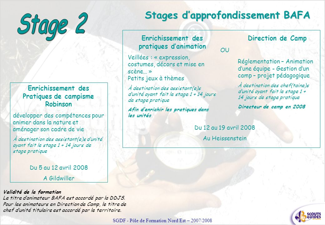 Stage 2 Stages d'approfondissement BAFA