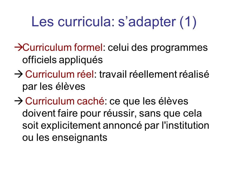 Les curricula: s'adapter (1)