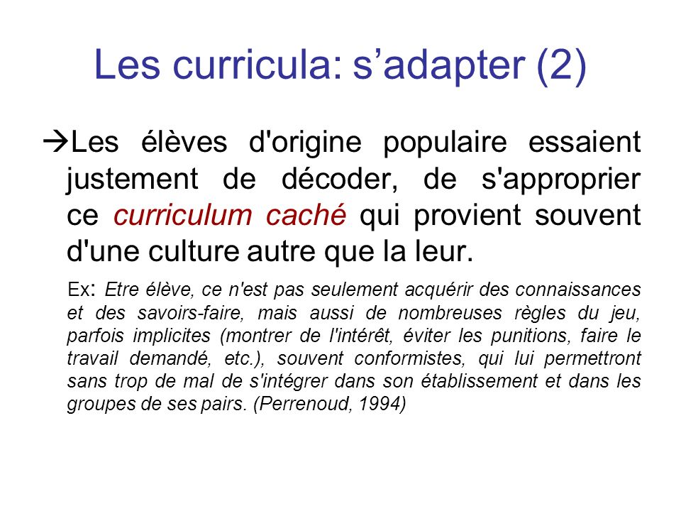 Les curricula: s'adapter (2)