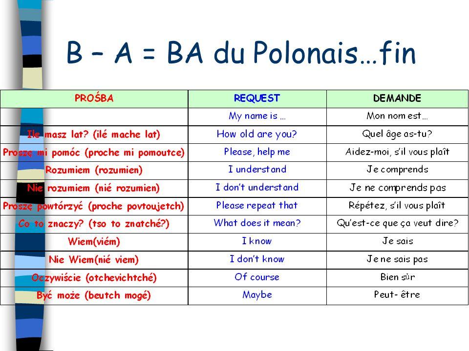 B – A = BA du Polonais…fin