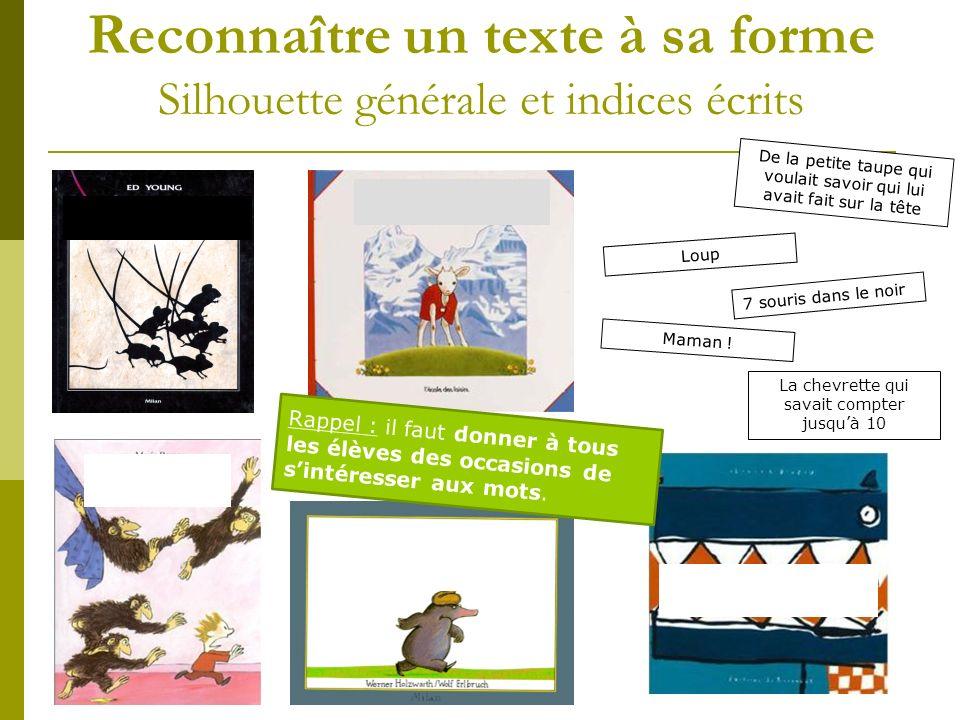 Reconnaître un texte à sa forme Silhouette générale et indices écrits
