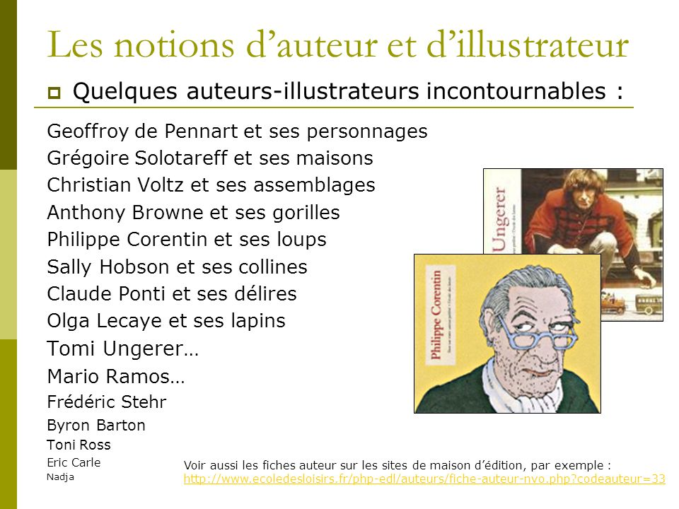 Les notions d'auteur et d'illustrateur